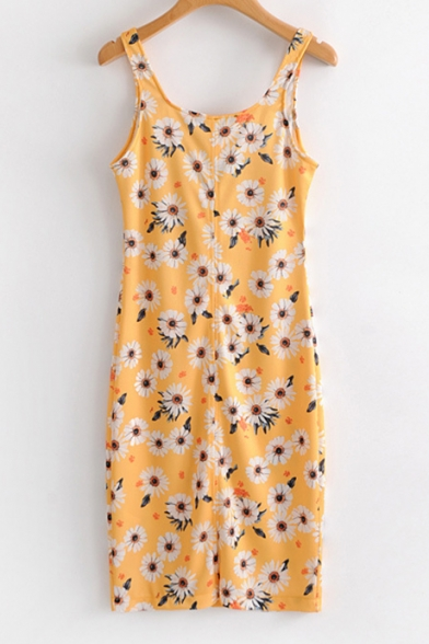 Mini Print Floral Sleeveless Fashionable Dress Neck Square Tank x5XTXdpq