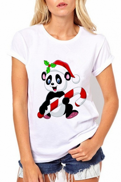 shirt Sleeves T Neck Round Christmas Panda Fashionable Print Theme Short Summer SvUqnT