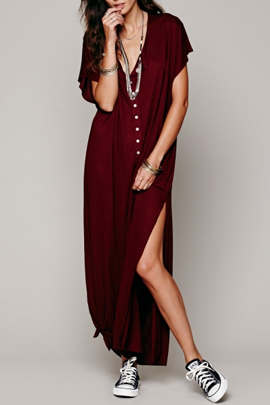 ed656aa5d1a6 Hot Stylish Plunge Neck Button Front Short Sleeve Slit Side Maxi T-shirt  Dress