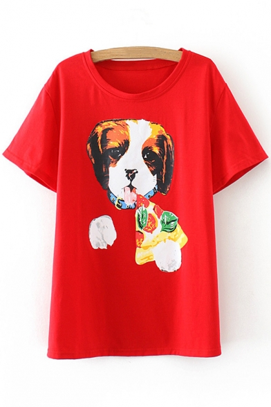 Tee Short Pizza Neck Sleeves Lovely Casual Round Dog Print ZvSnw1q8