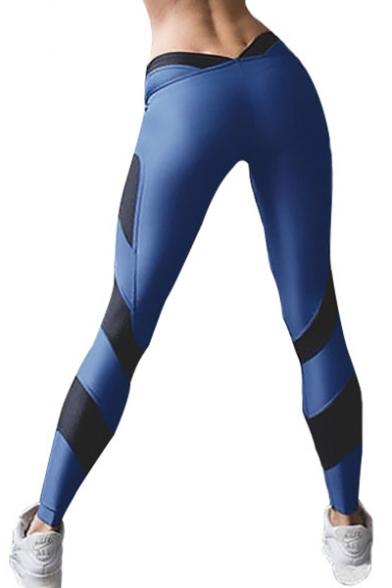 Slim Fit Color Block Fashionable Women's Workout Sports Leggings