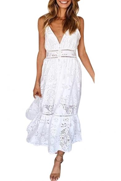 Spaghetti Straps Plain Hollow Out Lace Insert Ruffle Hem Midi Cami Dress