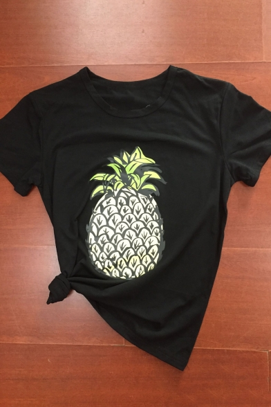 Tee Short Summer's Leisure Pineapple New Neck Sleeve Round Arrival Printed qwPqYvz