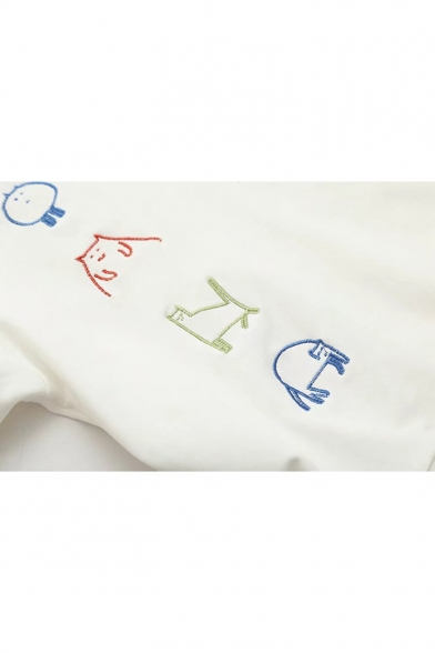 Front Letter Pullover Long Design Pocket Hoodie Cartoon Cat Embroidered Top Sleeve qZHwW