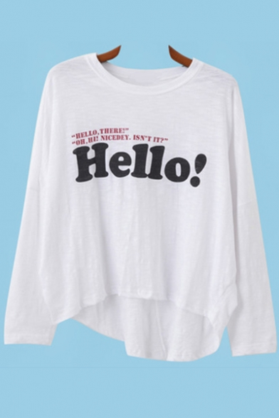 Neck Tee Letter Long HELLO Spring Basic Hem Print Round Sleeves Dipped fSwgqY