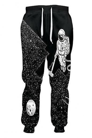 Chic Astronaut Print Drawstring Waist Pullover Sports Casual Pants