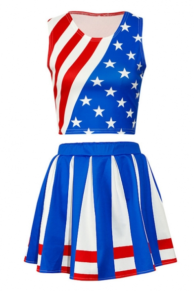 ords Skirt Color Neck Printed Tank Block Mini Pentagram Striped Round Line Sleeveless A with Co 7q6r7