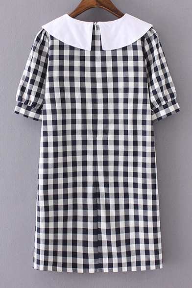 Contrast Lapel Collar Plaid Printed Short Sleeve Mini Shift Dress with Pockets