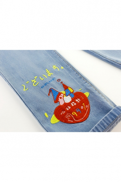 Cute Fashion Cartoon Japanese Embroidery Zipper Fly Pocket Side Cropped Jeans