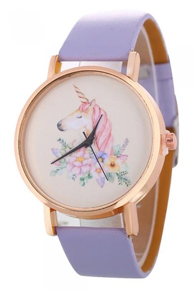 Cute Unicorn Floral Printed Leather Quartz Watch