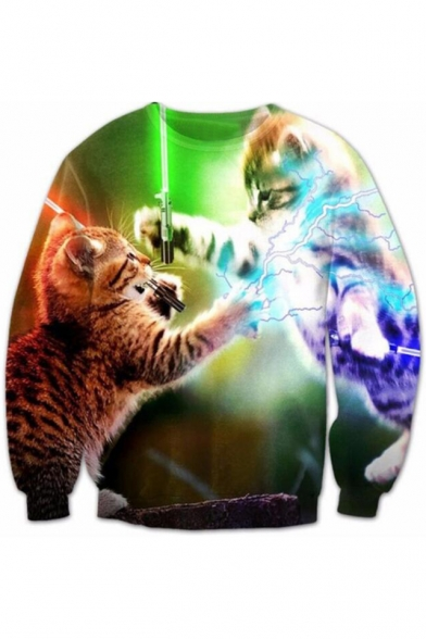 Digital Fighting Cats Printed Round Neck Long Sleeve Pullover Sweatshirt
