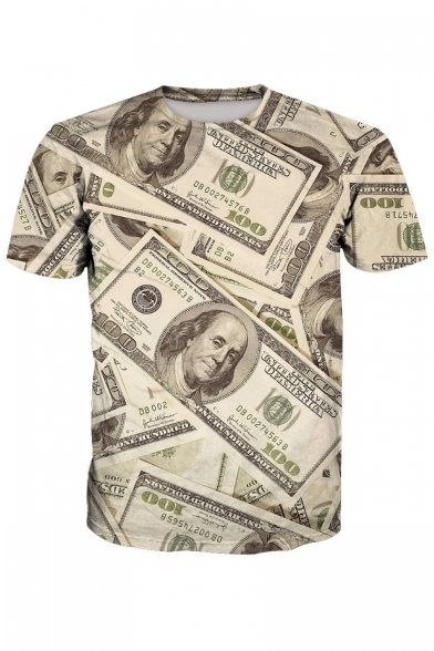 Fabulous Money Cash Print Round Neck Short Sleeves Summer T-shirt