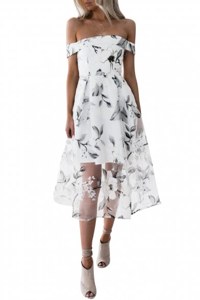 Floral Pattern Patchwork Off the Shoulder Stylish Midi A-line Dress