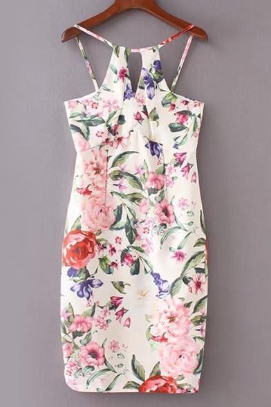 Floral Printed Spaghetti Straps Sleeveless Key Hole Front Midi Cami Dress