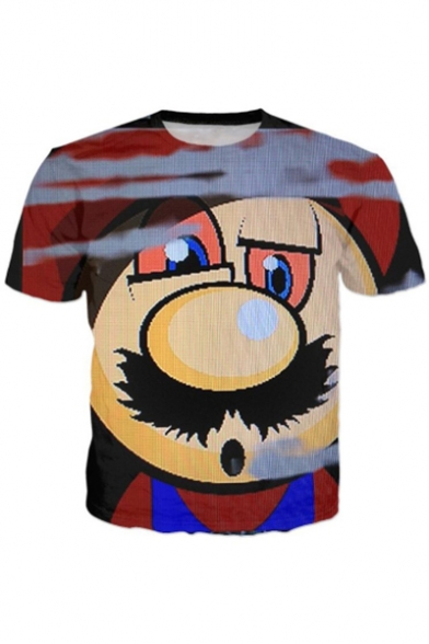 Funny Leisure Cartoon Round Sleeves Neck Tee Casual Short Print Z7FqxZWwr1
