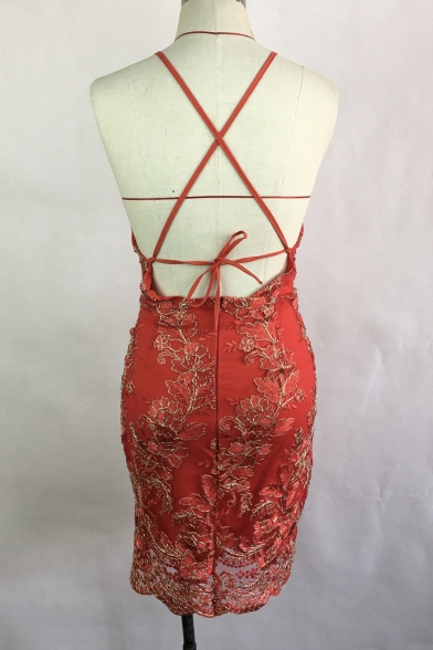 Sleeveless Pencil Floral Open Back Dress Lace Halter Mini zqdgz