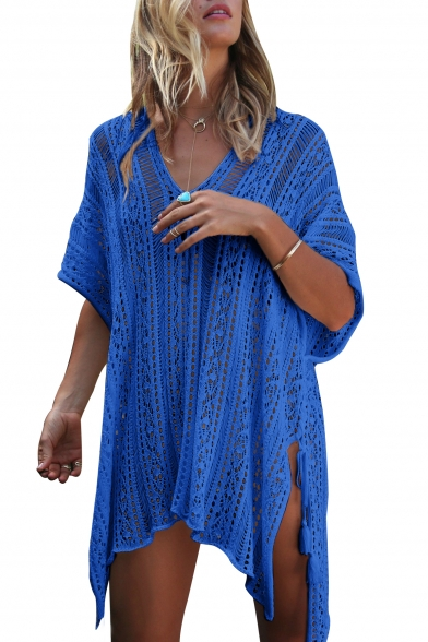Side Out V Hollow Up Cover Sleeve Tunic Neck Half Split Holiday q5x0PZwEZ