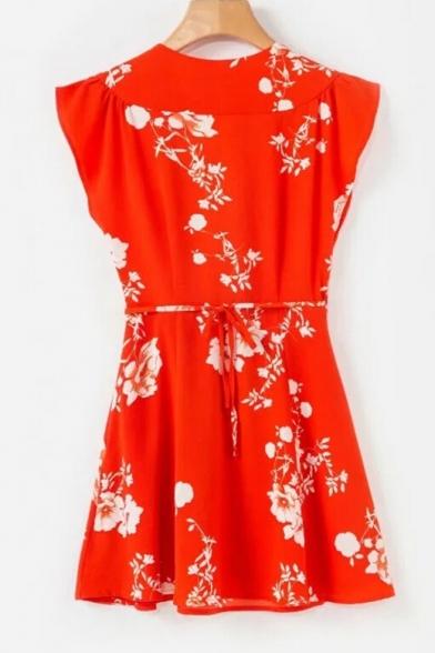 Floral Dress Plunge Neck Hot Bow A Mini Print line Detail Trendy SOpq6