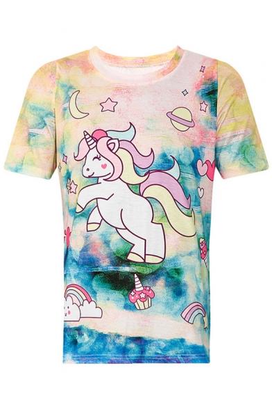 Sleeve Neck Tee Unicorn Cartoon Lovely Round Short HwxZtznFq