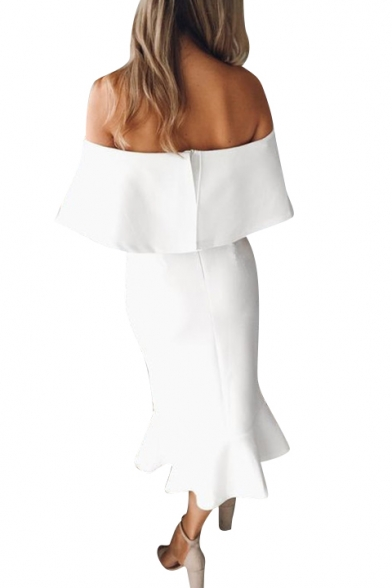 Off the Shoulder Plain Ruffle Detail Trendy Maxi Pencil Dress