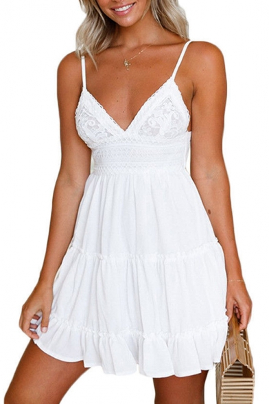 Pop Spaghetti Straps Plain Lace Panel Tie Hollow Back Mini Cami Summer Dress