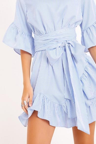 Round Neck Half Sleeve Ruffle Hem Bow Tied Waist Striped Mini A-Line Dress