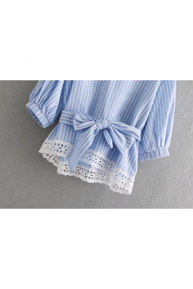 Striped Printed V Neck 3/4 Length Sleeve Bow Tied Front Lace Trim Blouse