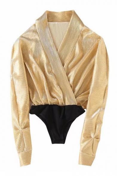 Unique Color Block Patchwork Wrap Front Batwing Long Sleeve Bodysuit