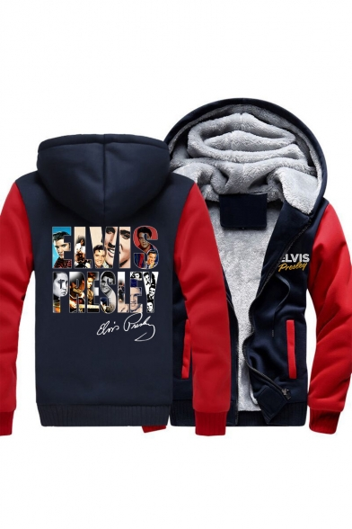 Vogue Fashion Character Letter Print Fur Lined Zip Up Coat with Pockets