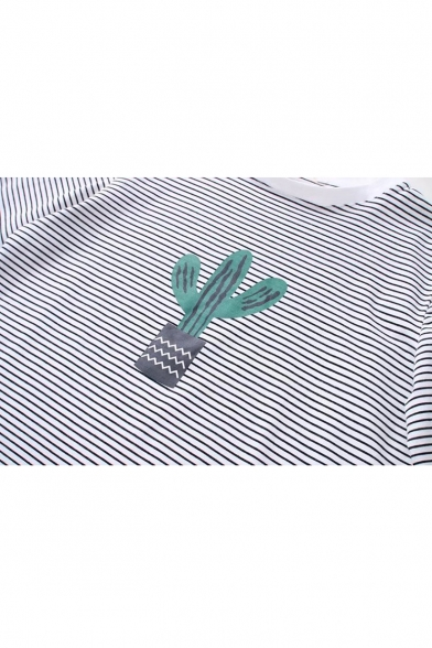 Cactus Stripes Neck Round Printed Sleeve Short Tee BqCB45a
