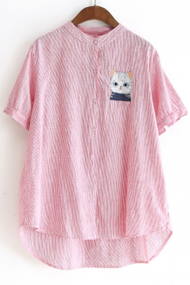 Cat Embroidered Stand Up Collar Short Sleeve Striped Printed Buttons Down Shirt