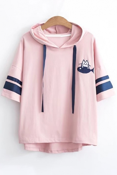 Short Hooded Embroidered Cat Striped Fish Tee Sleeve Printed Contrast qFRqxOTwP