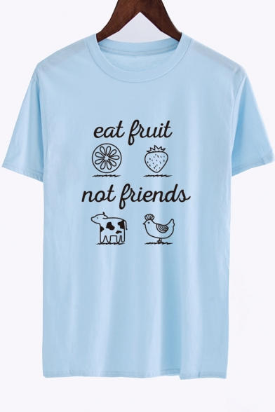 Short Fruit FRUIT Neck Tee Letter Round EAT Sleeve Animal Printed xE0ARwqqd