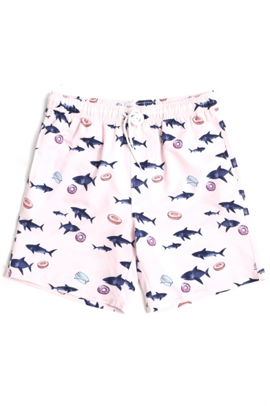 Fashion Pink Short Fish Shark Donut Swim Trunks with Mesh Liner