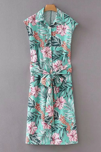 Floral Printed Lapel Tie Waist Sleeveless Single Breasted Button Dress