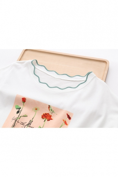 Neck Round Floral Printed Tee Short Sleeve EBw0xq