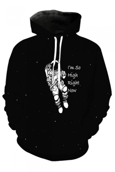 Letter HIGH Printed SO I'M RIGHT Long Sleeve NOW Hoodie Astronaut SIYwA5qw