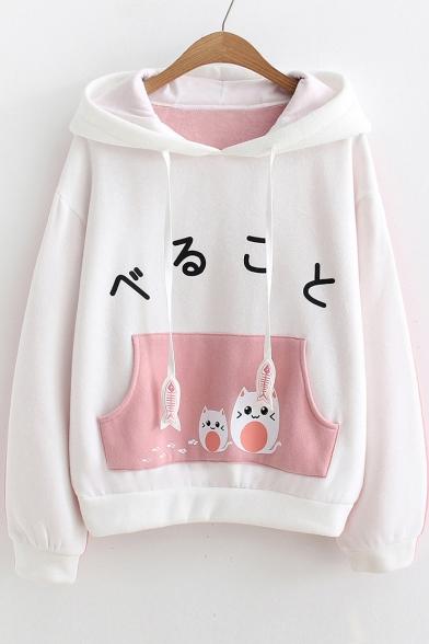 Japanese Cat Printed Color Block Long Sleeve Hoodie