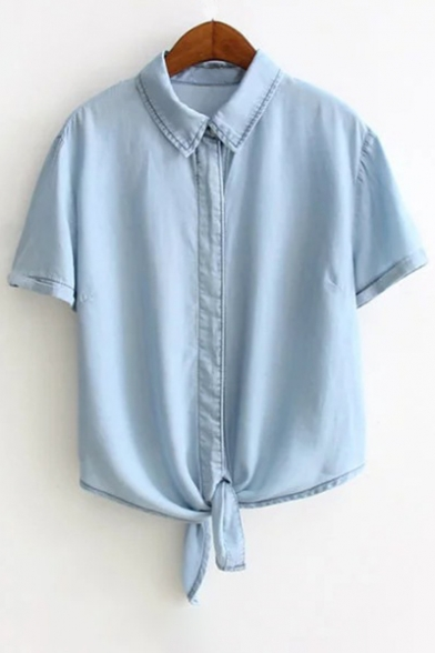 Lapel Short Sleeve Single Breasted Button Tie Hem Plain Shirt