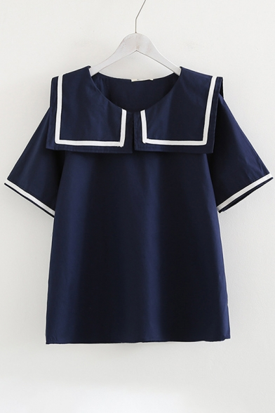 Navy Collar Short Sleeve Loose Contrast Striped Printed Blouse