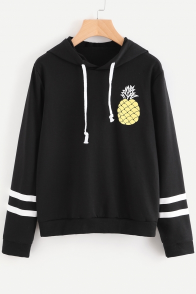Sleeve Printed Long Pineapple Striped Contrast Hoodie w0EIg0qx