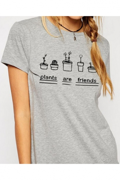 PLANTS ARE Round Short Letter Sleeves Tee Plant FRIENDS Printed Neck Potted and rrpAS
