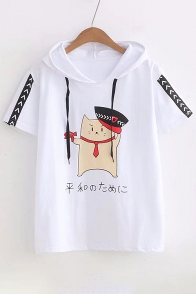 Sleeve Hooded Japanese Cat Short Printed Tee Police n8xHTBqzwI