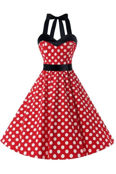 Line A Polka Midi Halter Dot Dress Sleeveless Printed w7xq8Tp