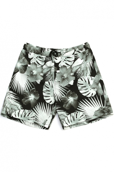 Retro Mens Black Floral Tropical Pattern Monochrome Bathing Shorts with Mesh Liner and Pockets