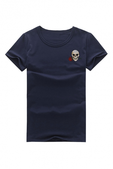 Floral Round Neck Embroidered Tee Sleeve Skull Short 5FqABx4qRw