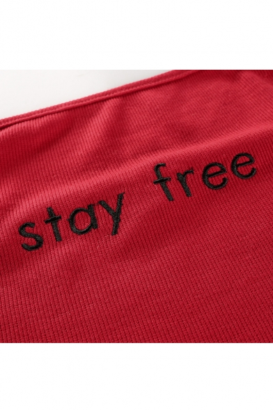 STAY FREE Embroidered Letter Spaghetti Sleeveless Crop Cami Straps aZq6aUxr