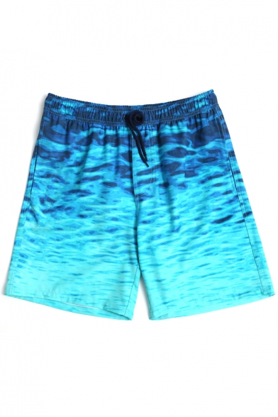 2b56326670 Stylish Designer Blue Men's Underwater Waterscape Swim Shorts Trunks with  Mesh Brief ...