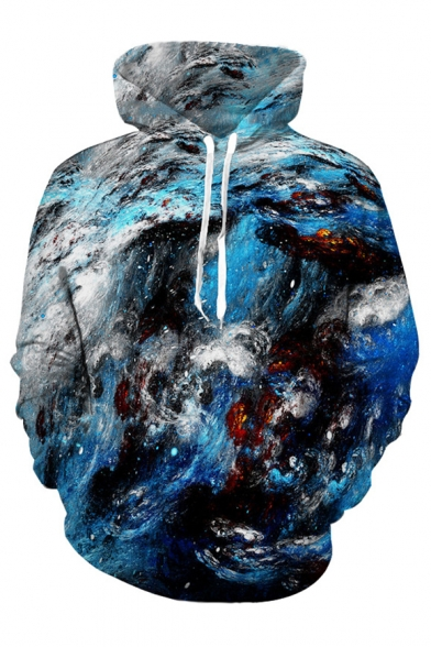 Unique Underwater Oil Painting Print Long Sleeves Pullover Hoodie with Pocket
