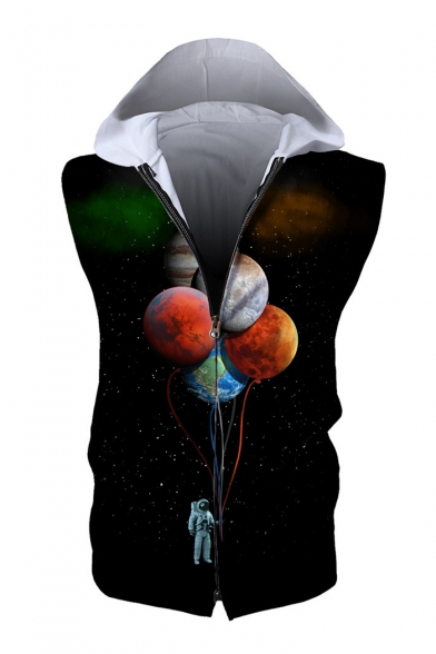Astronaut Balloon Up Zip Printed Hoodie Sleeveless Sq7qAd